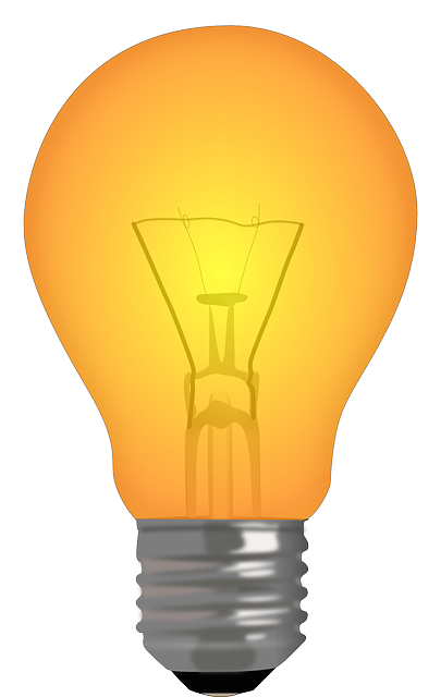 Picture of a orange light bulb